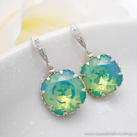 Wedding Bridesmaid Earrings Bridal Jewelry Mint Blue Green Earrings Pacific Opal Swarovski Crystal Square Drops &amp; Cz Sterling Hooks