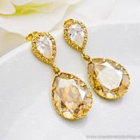 Wedding Bridesmaid Earrings Bridal Jewelry Bridesmaid Earrings Golden Shadow Swarovski Crystal Tear Drops with Cubic Zirconia