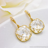 Wedding Bridesmaid Earrings Bridal Jewelry Clear White Swarovski Crystal Square Drops with Cubic Zirconia Ear Wires