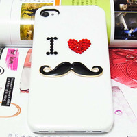 Bling Rhinestones Crystal Moustache Mustache White Hard Back Case Cover For Apple iPhone 4 4G 4S