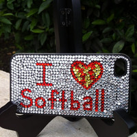 I Love Softball Rhinestone Phone Case fits iPhone 4