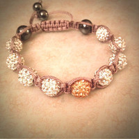 Beautiful handmade Shamballa bracelet - champagne and white Swarovski crystals with taupe string