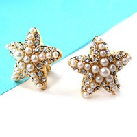 Small Starfish Star Shaped Clip On Earrings in Gold with Rhinestones from Dotoly Love