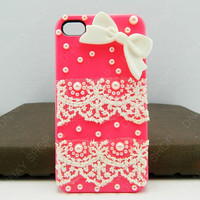 Fashion iphone 5 case Lace case bows case iPhone cover