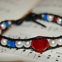 Red Quartz, Blue Lapis, Freshwater Pearl Wrapped Leather Bracelet, Patriotic Jewelry, VOTE bracelet