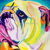 Colorful Pet Portrait Bulldog Art Print 11x14 by by dawgpainter