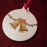Ceramic Christmas Ornament with Bells and Angels - Round