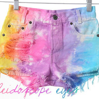 Levis 501 Colorful Rainbow Dyed TIE DYE Denim High Waist Cut off Shorts XXS