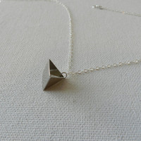 Silver triangle necklace - Simple necklace - Dainty necklace - Geometric silver necklace - Tiny sterling silver necklace - Fashion jewelry
