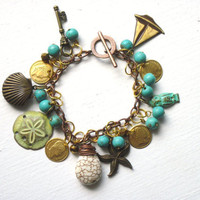 Nautical Charm Bracelet : Turquoise Mermaid Ocean Beads Locket