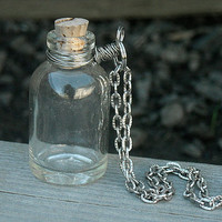 Bottle Necklace, Vial Necklace, Empty Bottle Necklace, Glass Bottle, DIY, Jewelry,