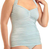 Bathing Beauty One Piece in Light Blue Velvet - Plus-Size | Mod Retro Vintage Bathing Suits | ModCloth.com