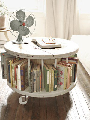 Dream Apartment Decor / From Old Cable Spool To New Library Table      Read more: DIY Home Decor Crafts - Easy Home Decorating Craft Ideas - Country Living