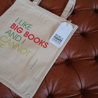 I Like Big Books And I Cannot Lie - Custom Cotton Canvas Jumbo Shopper Tote Bag - FREE SHIPPING