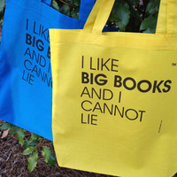 NEW Color - I Like Big Books And I Cannot Lie - Bright Yellow - One Lightweight Custom 100% Cotton Tote Bag - FREE SHIPPING