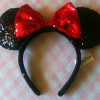 Mickey Minnie Mouse Ears Headband - NEW red bow, sequins