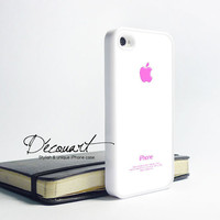 iPhone 5 case, iPhone 4 case, iPhone 4s case, case for iPhone 4, shocking pink apple logo W233