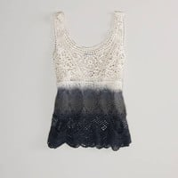 AE Dip-Dyed Crochet Tank | American Eagle Outfitters