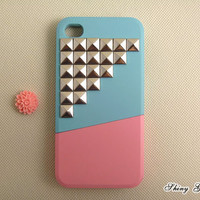 Unique iPhone 4 case, studded iPhone 4s case, custom silver pyramid studs iPhone case, iPhone 4 case stud, iPhone 4 cover