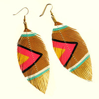 Neon Aztec - Nude Neons - 4.5 inch - Faux Leather Feather Earrings - FREE SHIP