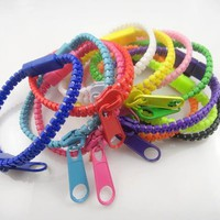 Hip Zip Bracelets  solids, two tone, tiedye zipper bracelets, sleepaway camp, hip zip craze Confetti & Friends Bunk Junk, zipper bracelet with charms