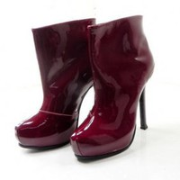 Christian Louboutin 2011 Burgundy Patent Leather Boots [2011093013] - $234.00 : shoesoutletus.com, shoesoutletus.com