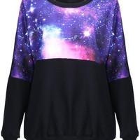 ROMWE | Stars Print Black Pullover, The Latest Street Fashion