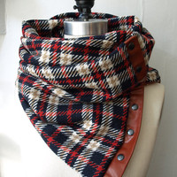 Reserved for Khira final  payment Navy , camel and red plaid Chunky wool circular infinity scarf