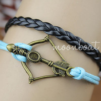 Bracelet-antique bronze arrow bracelet,hunger games bracelet,braid leather