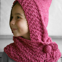 Hooded scarf, neckwarmer in bonbon pink for girls and teens, Knit hooded shawl