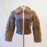 70s Jacket Vintage Faux Fur Vinyl Bomber Brown by voguevintage