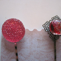 Hot Pink and Red Bobby Pins, Glitz and Glamour Bobby Pins