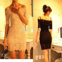 Women's Boat Neck Off Shoulder Lace Strap Slim Sexy Clubwear Party Mini Dress