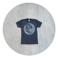 Mens t shirt - S/M/L/XL - fall fashion - full moon screenprint on American Apparel heather black - My Moon, My Man