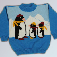 Blue children's Sweater with penguins, childs acrylic