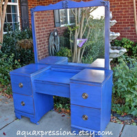Cobalt Blue Vanity, Dresser, Beach Cottage, Shabby Chic, Rustic, Painted Vintage