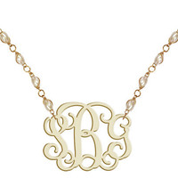 Monogram Necklace Pearl Beads Acryl.. on Luulla