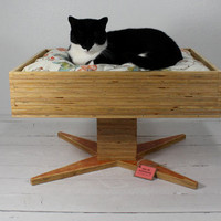 Handmade Modern Plywood Pet Bed by AtomicAttic on Etsy