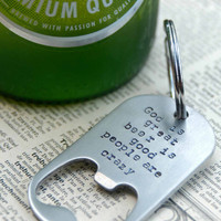 Hand Stamped Custom Bottle Opener Keychain -  Perfect For Wedding Parties, Groomsmen