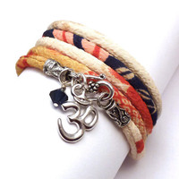Japanese Chirimen Cord Wrap Bracelet with Om by charmeddesign1012