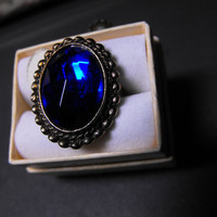 Cobalt Blue Faceted Stone Adjustable Ring by GiltyGirlVintage