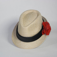 Leather Rose Fedora Red Rose with Black by LoriColeDesigns