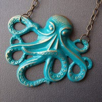 Octopus Necklace Marine Green Hand Painted by SimplyChacha