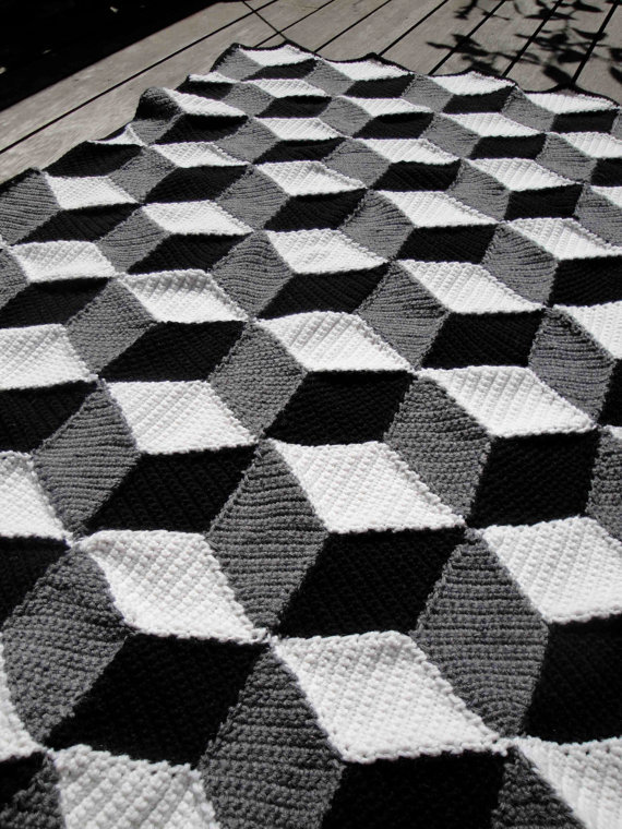 Isometric Blanket / Afghan - Geometric from Paravent on Etsy