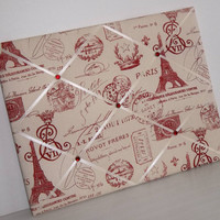 Red French Stamp fabric - Memo Board