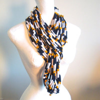 Navy Blue Gold White Infinity Scarf Eco-Friendly Fall Fashion Sport Notre Dame BYU USNA Upcycled Cowl Scarf Warm Winter Scarf Gifts Under 75
