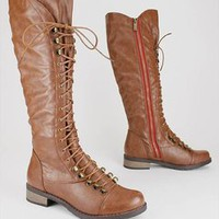 lace up leatherette boot