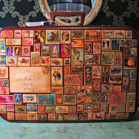 Around the World in 80 Stamps Vintage Luggage by yasminbochi