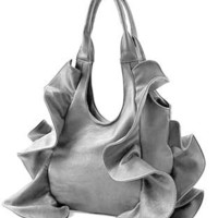 Amazon.com: Tremendous Flirty Fun Ruffle Double Handle Oversized Hobo Satchel Purse Handbag Shopper Tote Bag: Clothing