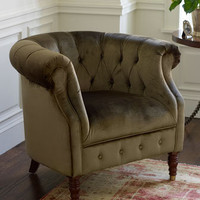 Olive Velvet Tub Chair - Horchow